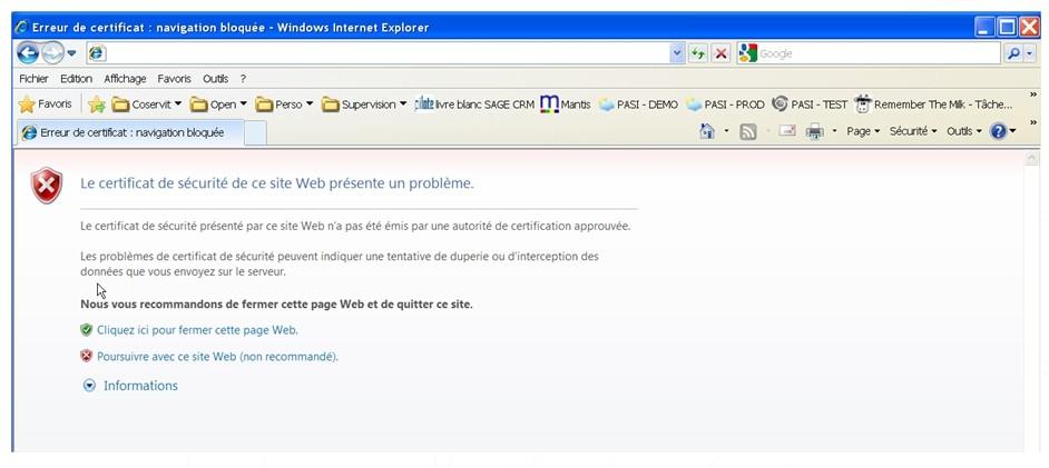 Agent - Erreur certificat