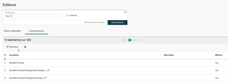 Inventaire - Configuration - Editeurs - Normaliser