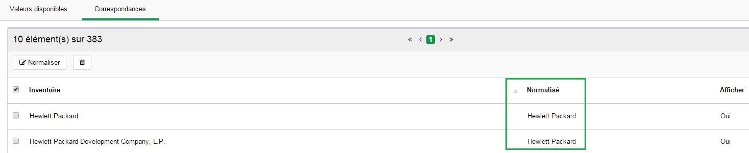 Inventaire - Configuration - Editeurs - Normaliser 3