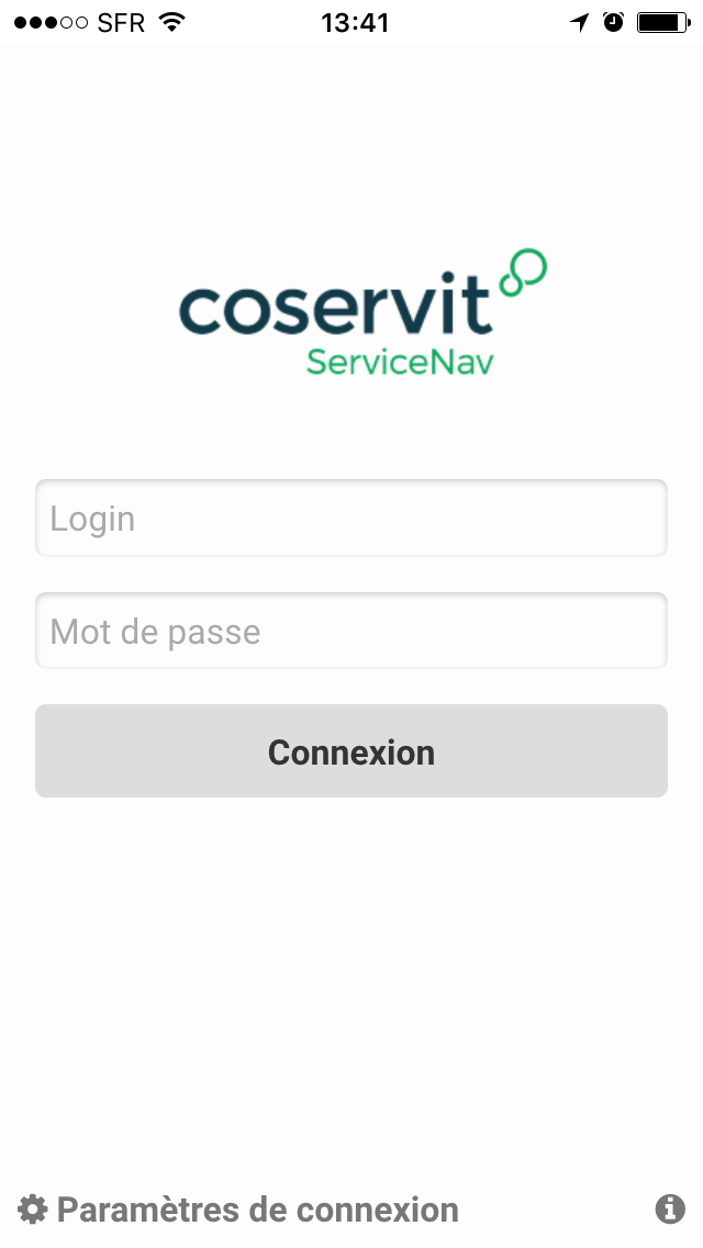 ServiceNav - Application mobile connexion