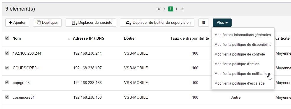 ServiceNav - Equipement - Modifier la politique de notification