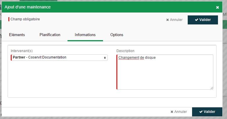 ServiceNav - Maintenance - Informations