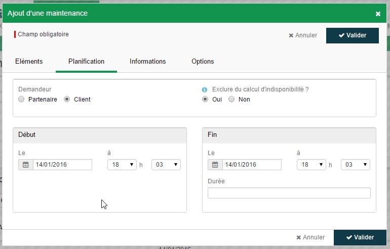 ServiceNav - Maintenance - Planification