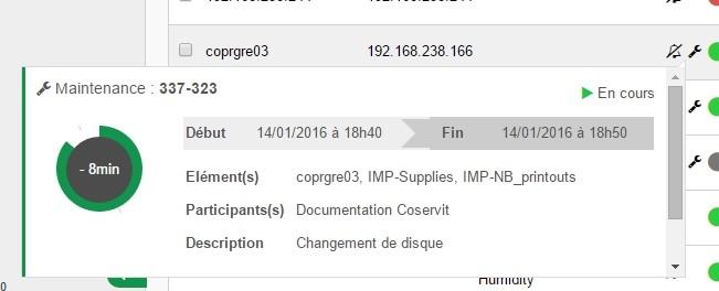 ServiceNav - Maintenance - pop-up information on ongoing maintenance