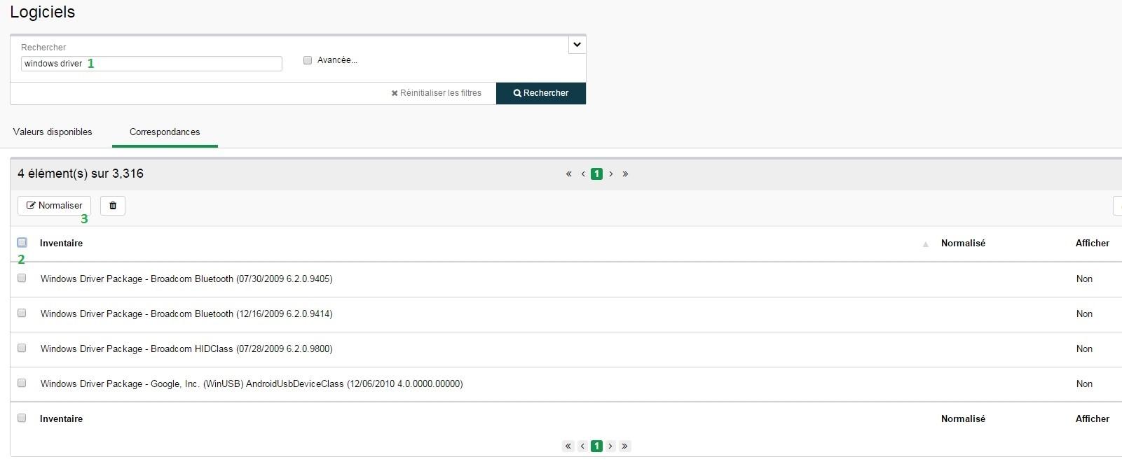 Inventaire - Configuration - Logiciels - Normaliser