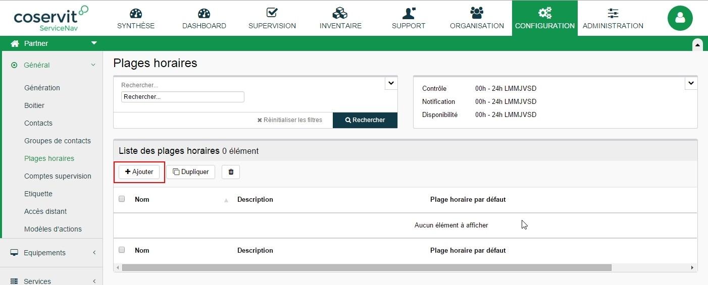 ServiceNav - Configuration - Ajouter une plage horaire