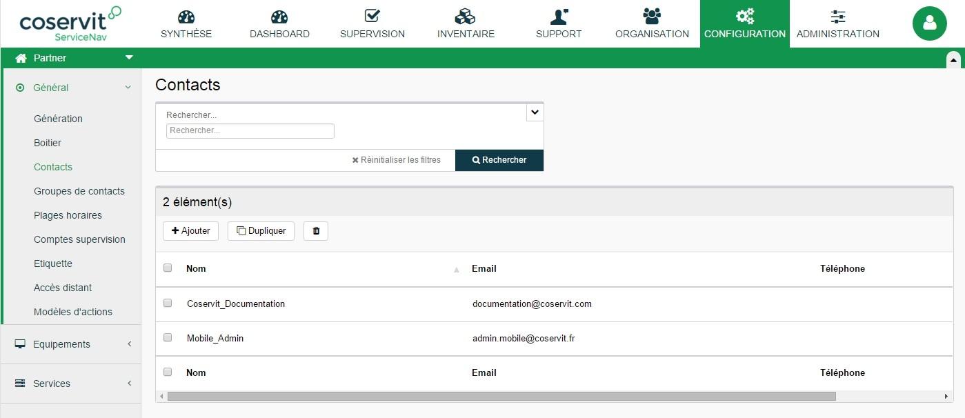 ServiceNav - Configuration -Contacts