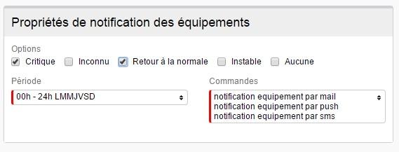 ServiceNav -Contact - Types de notifications pour les équipements