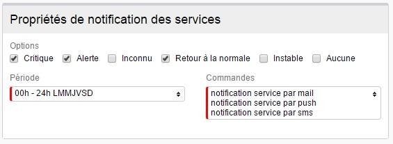 ServiceNav -Contact - Types de notifications pour les services unitaires