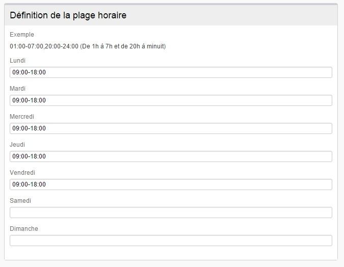ServiceNav - Time range - Enter time slots per day