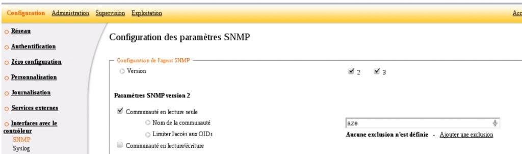 ServiceNav - Ucopia - configuration de la communauté SNMP