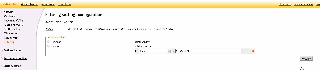 ServiceNav - Ucopia - configuring IPs allowed to make SNMP requests