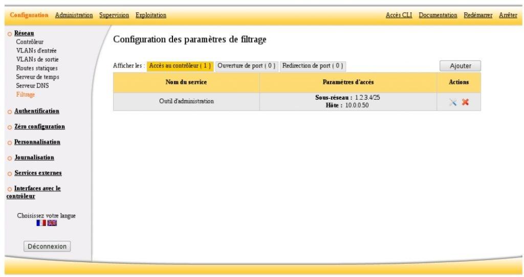 ServiceNav Ucopia configuration of filtering parameters