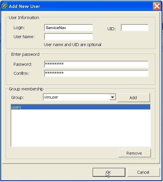 ServiceNav - VMware - ajout d'un utilisateur