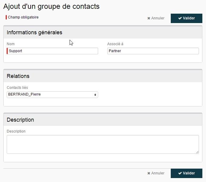 ServiceNav - ajouter un groupe de contact