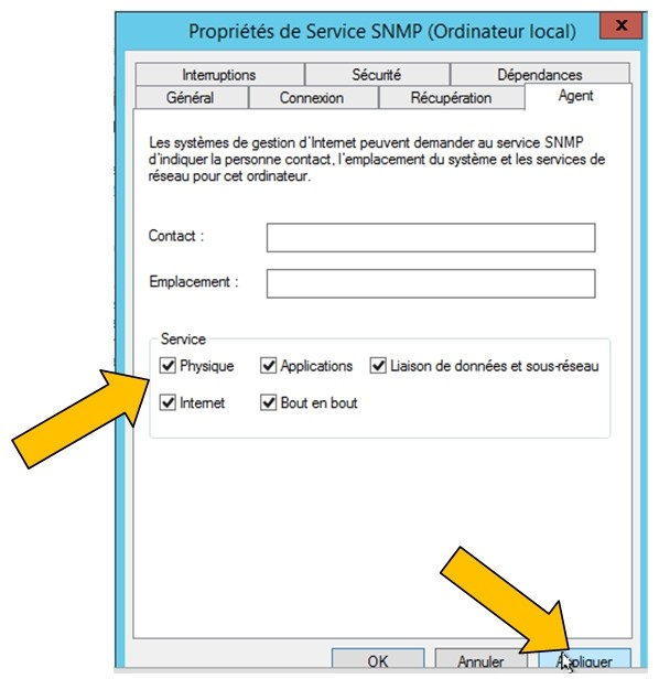 SNMP Service - Properties 2